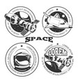 space labels set - labels or logo with shuttle vector image