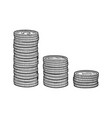 stacks coins sketch vector image vector image