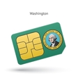 State of Washington phone sim card with flag vector image vector image