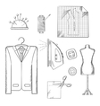 Tailor tools and accessories sketches set vector image vector image