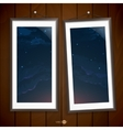 Two Frames Of Picture On A Striped Old Wall vector image vector image