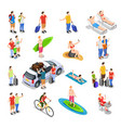 vacation isometric people set vector image vector image