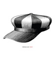 vintage hat hand draw engraving style black and vector image