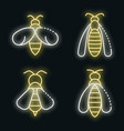 wasp icons set neon vector image vector image