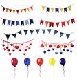 watercolor set vintage garlands and balloons vector image
