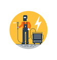 Welder with mask at work vector image