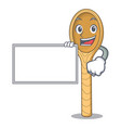 with board wooden spoon character cartoon vector image