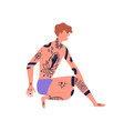 young naked man with piercing sitting in underwear vector image