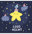 Good night card with a cute star clouds and a bir vector image