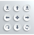 Arrows icon set - white round buttons vector image vector image
