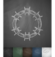 barbed wire icon Hand drawn vector image