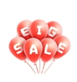 Big sale background with red realistic balloons vector image