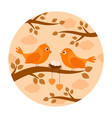 birds with nest eggs on branch vector image