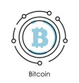 bitcoin isolated linear icon cryptocurrency or vector image vector image