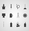 Black icons for hookah accessories vector image vector image