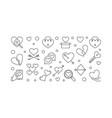 broken love horizontal banner in thin line vector image