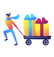 businessman pulling a trolley or cart with vector image vector image