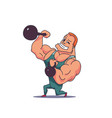 cartoon character muscle man with kettlebells vector image vector image
