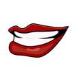 cartoon lips teeth smile side isolated on white vector image