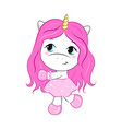cartoon unicorn girl vector image vector image