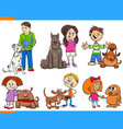 children with dogs cartoon collection vector image vector image
