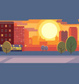 city street during sunset flat vector image