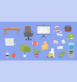 clipart collection with office furniture vector image