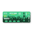 concert ticket template concert party disco or vector image vector image