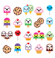 Cute Kawaii food characters - cupcake ice-cream