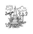 doodle of yogyakarta city of indonesia vector image vector image