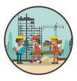geometric workers cartoons vector image