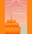 greeting card happy birthday cake with candles vector image vector image
