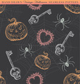 Hand Drawn Vintage Halloween Seamless Pattern vector image vector image