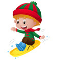 little boy playing on the sledge vector image