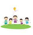 Little children outdoors kites vector image vector image