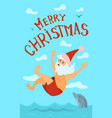 merry christmas santa claus diving hat new year vector image vector image