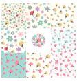 modern floral seamless pattern set vector image vector image