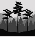 monochrome background of landscape of forest with vector image
