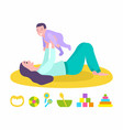 mother holding bason laying on mat isolated vector image