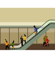 people rise on the escalator vector image vector image