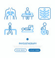 physiotherapy thin line icons set vector image