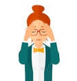 Repentant woman clutching her head vector image vector image