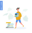 school girl walking with books from library vector image vector image