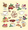 set fresh desserts coffee tea berry ice vector image vector image