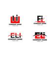 set initial letter logo eli template design vector image vector image
