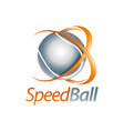 speed ball shiny sphere logo concept design vector image