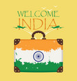 suitcase with the flag of india and planes vector image