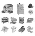 supermarket and equipment monochrome icons in set vector image vector image