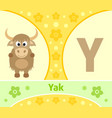 the english alphabet with yak vector image vector image