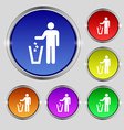 throw away the trash icon sign Round symbol on vector image